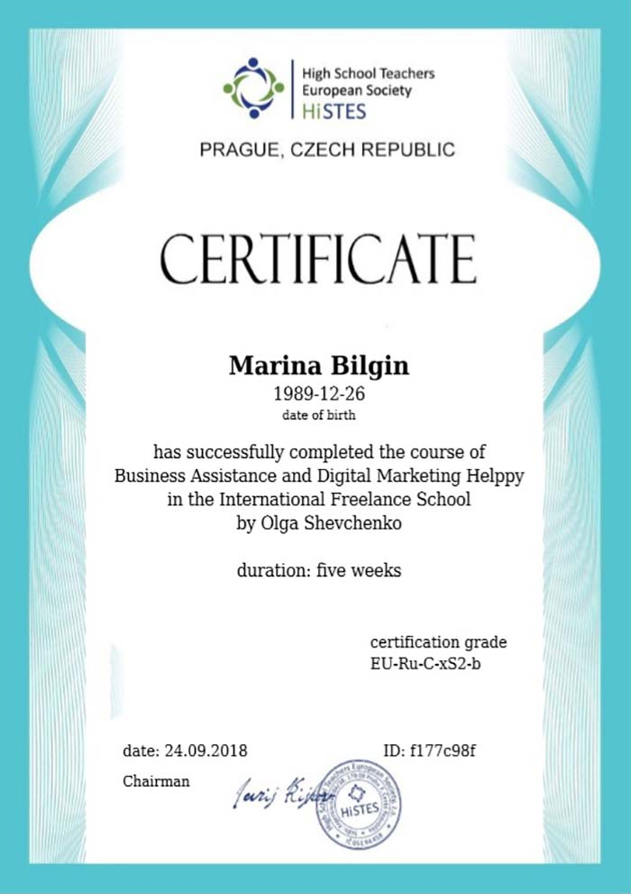 фото Сертификат о прохождении обучения в онлайн школе интернет-маркетологов - Марина Билгин