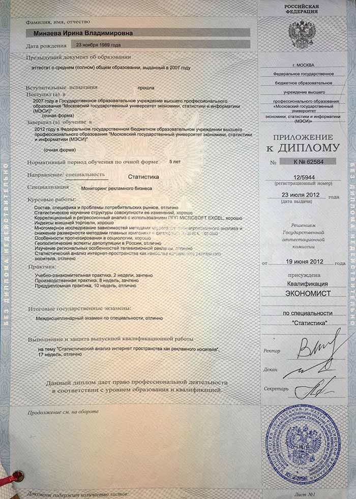 фото Приложение к диплому о высшем образовании - Ирина Минаева