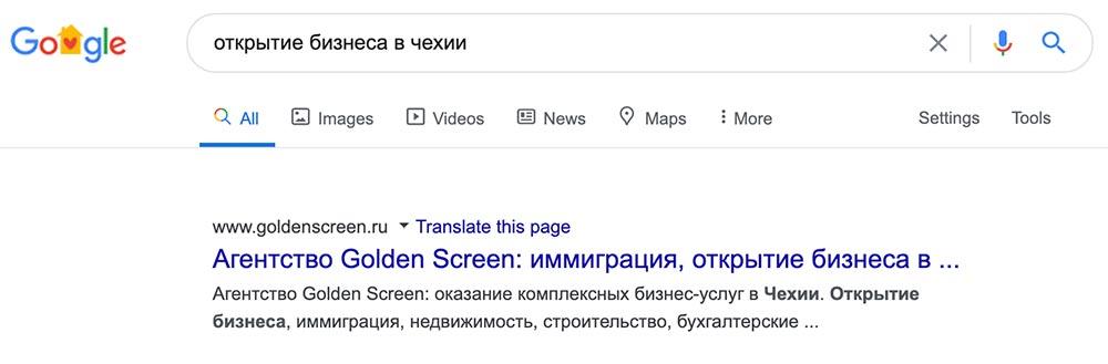 изображение кейс Вышли в ТОП поиска Google за 1й месяц
